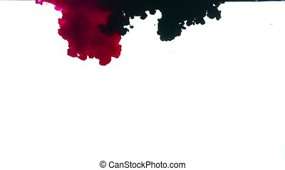 Red and black ink on a white background