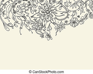 Floral doodle background - Floral hand drawn vector card