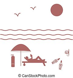 Nice picture on holiday by the sea: sun, waves, seagulls, beach umbrella, diving equipment and a man lying on a lounger