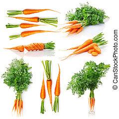 Conjunto, fresco, zanahoria, frutas, verde, hojas