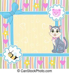 Baby shower invitation with kitten