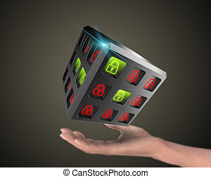 Security of information systems background - 3D rendering,...