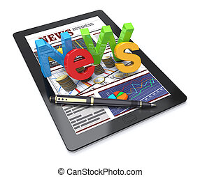 News finacial business - 3D Illustration, Computer tablet...