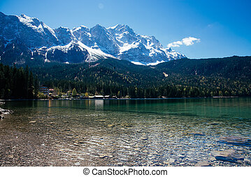beautiful lake view to eibsee and zugspitze, bavarian...