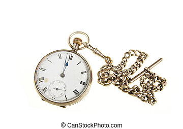 Pocket watch with chain - Antique pocket watch with a silver...