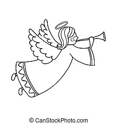 Cute flying angel with flute