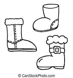 Santa boot icons set