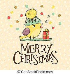 Christmas greeting card with a cute bird. Vector...