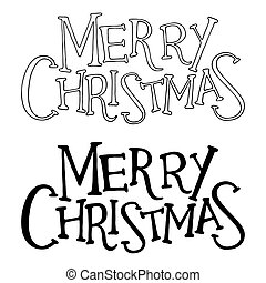 Merry christmas text. Vector lettering isolated on white...
