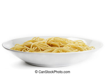 one plate with spaghetti from front on white background