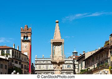 Piazza delle Erbe - Verona Italy - Piazza delle Erbe, is the...