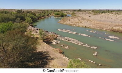 Aerial view of the Orange river - longest river in South...