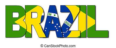 Brazil overlapping flag text illustration