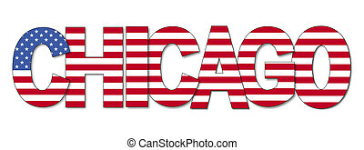 Chicago overlapping flag text illustration