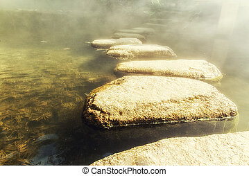 Stepping Stones - Misty Stone path in zen garden