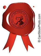 Washington State Wax Seal - A wax seal with a the state seal...