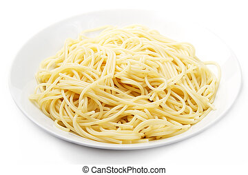 one plate with spaghetti on white background