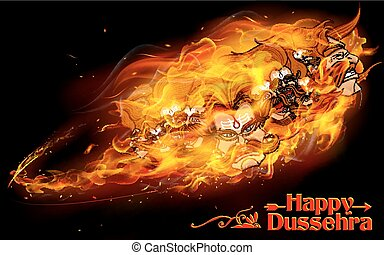 Raavan Dahan for Dusshera celebration - illustration of...