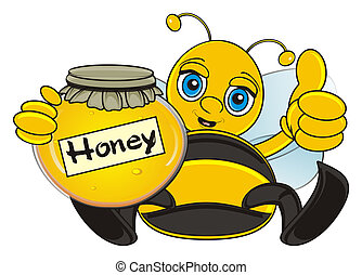 bee show gesture cool - bee sit and hold a bank of honey and...