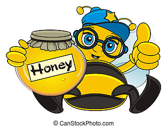 bee with honey - bee in cap and glasses sit and hold a bank...