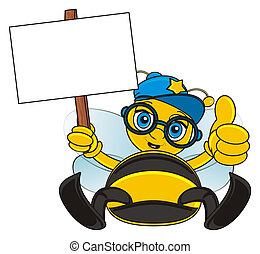 bee with clean paper - bee in cap and glasses sit and hold a...