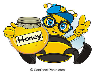 bee with honey - bee in cap sit and hld a bank of honey and...
