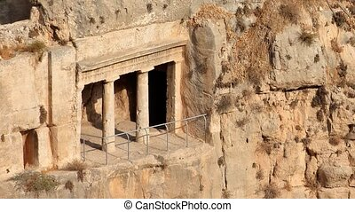 Kidron valley tombs - Israel - View of the tombs of Absalom,...
