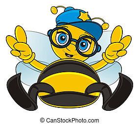 bee in cap and glasses sit and sho wgesture peace