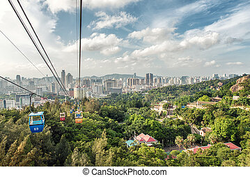 Xiamen - View from the cablecar of central Xiamen in China...
