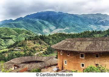 hakka, Tulou, tradycyjny, Chińczyk, mieszkaniowy, w, Fujian,...