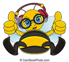 bee in earphones - bee sit and lising to the music