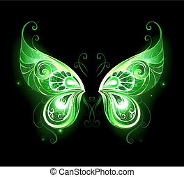 green fairy wings - Patterned, green, glowing fairy wings on...