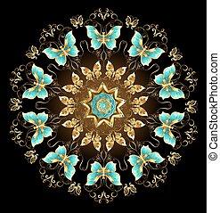 Mandala of golden butterflies