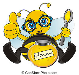 bee with honey - bee sit and eat a honey with spoon