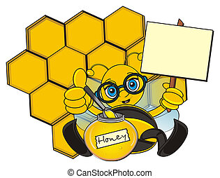 bee with clean poster - bee hold a poster on the stick and...