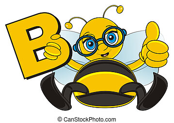 bee with letter B - bee sit and hold a letter B
