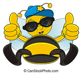 bee in sunglasses - bee sit in black sunglasses and show...