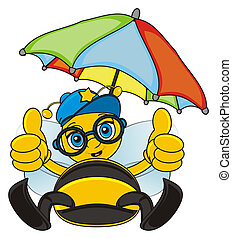 bee with umbrella - bee sit under umbrella and show gesture...