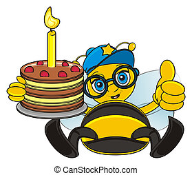 bee with cake - bee sit and hold a birthday cake with candle...