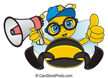 bee with megaphone - bee sit and hold a megaphone and show...