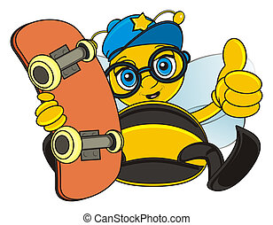 bee with skateboard - bee sit and hold a skateboard