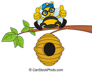 bee sit on the tree - bee in glasses sitting on the branch...