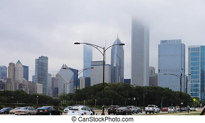 Timelapse Chicago city center on a foggy day - A Timelapse...