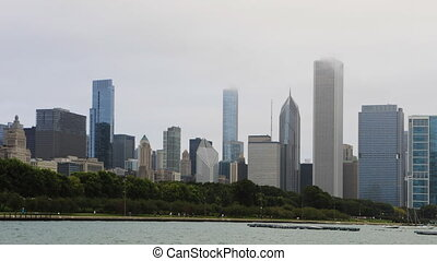 Timelapse Chicago scene with transit in front - A Timelapse...