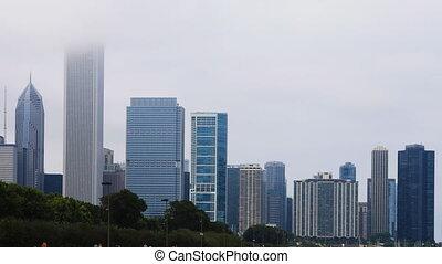 Timelapse Chicago city center in fog - A Timelapse Chicago...