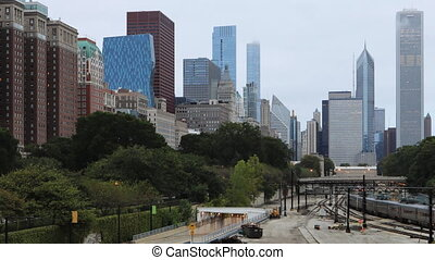Timelapse Chicago Skyline with transit in foreground - A...