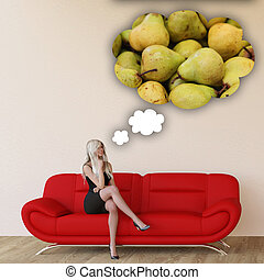 Woman Craving Pears and Thinking About Eating Food