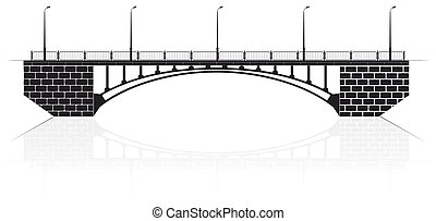 Reinforced concrete arch bridge in Kiev for cars and...
