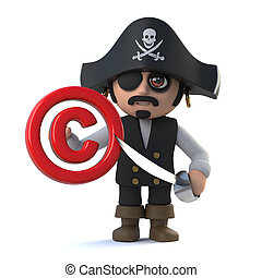 3d Pirate captain has copyright