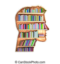 Head shaped library containing books on shelves. Brain...